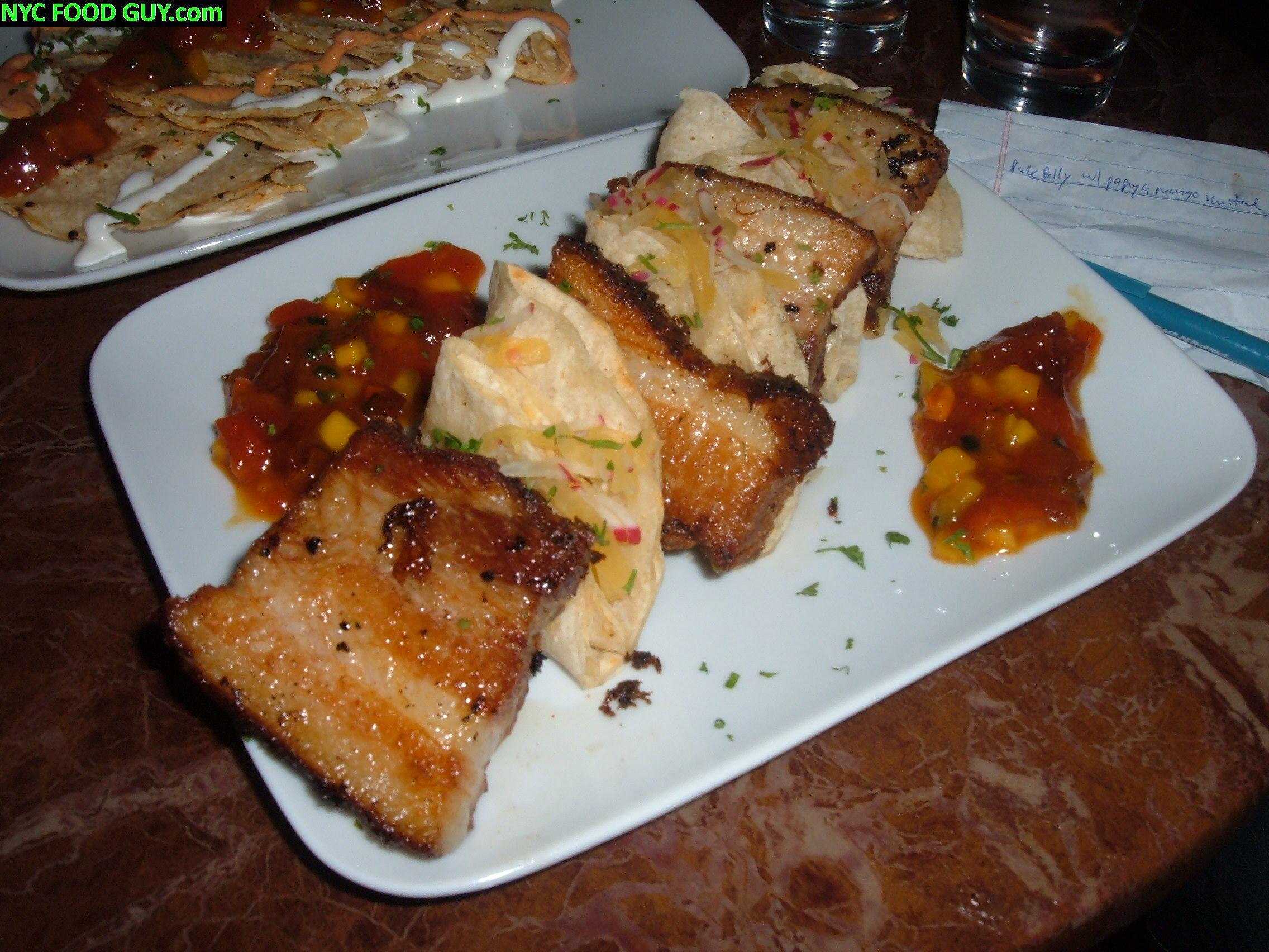 Braised Pork Belly with Papaya Mango Mustard ($10)