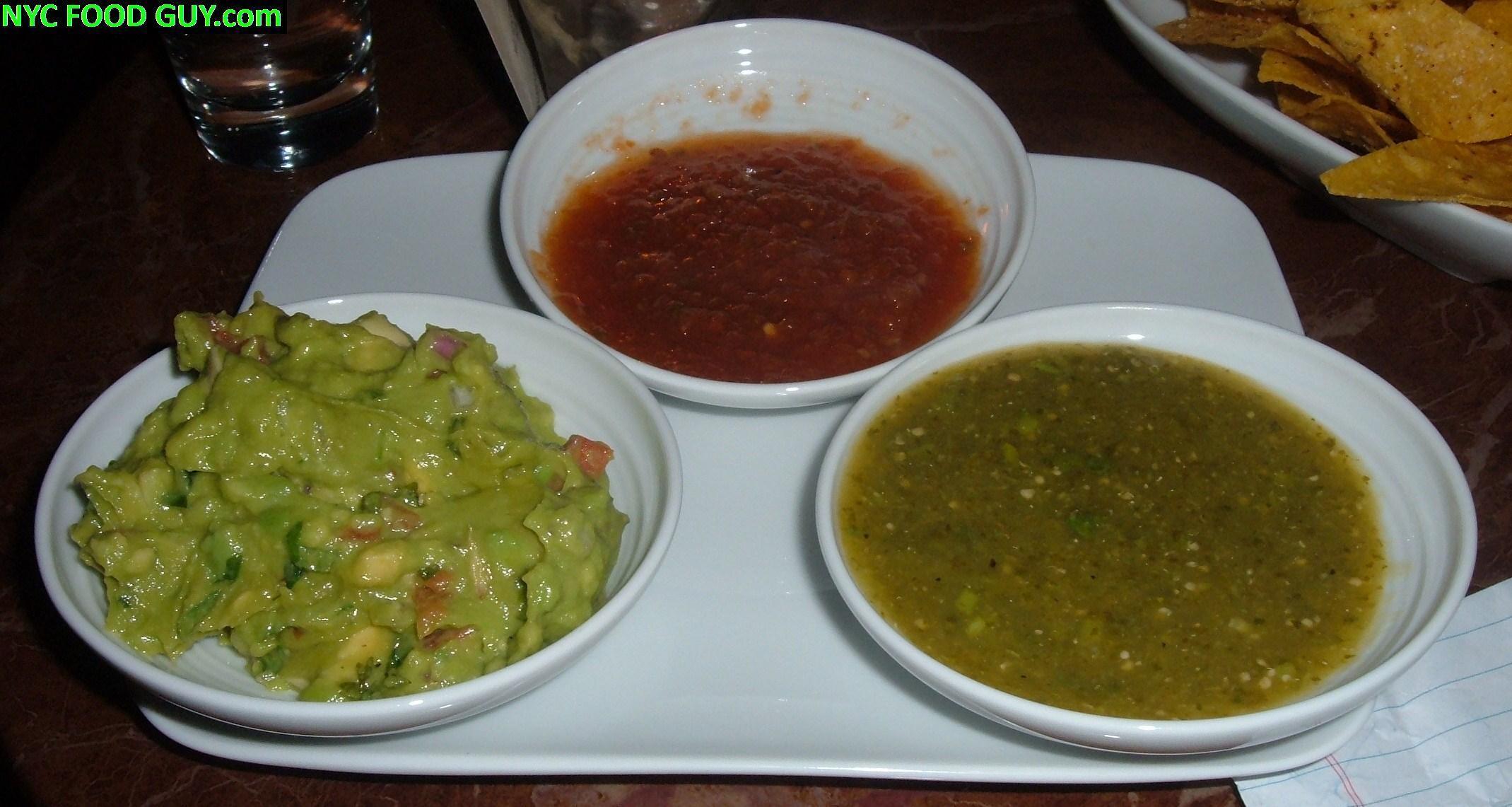 Fresh Guacamole, Smokey, Steaming Tomato & Spicy Salsa Verde