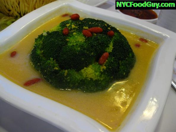 Whole Broccoli in Golden Broth