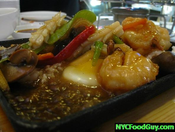 Sizzling Mixed Seafood Casserole with Crunchy Rice Cake